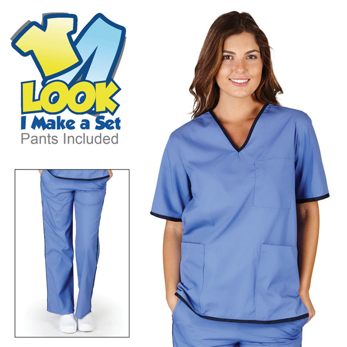 Natural-Uniforms-SH505-Womens-Contrast-Trim-Scrub-Set