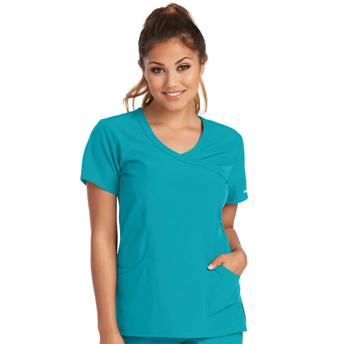 Skechers-SK102-Womens-Reliance-Mock-Wrap-Scrub-Top