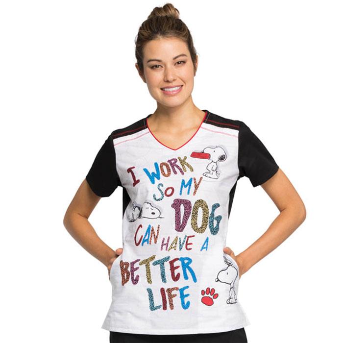 Tooniforms-TF608-PNET-V-Neck-Scrub-Top-Snoopy-A-Better-Life