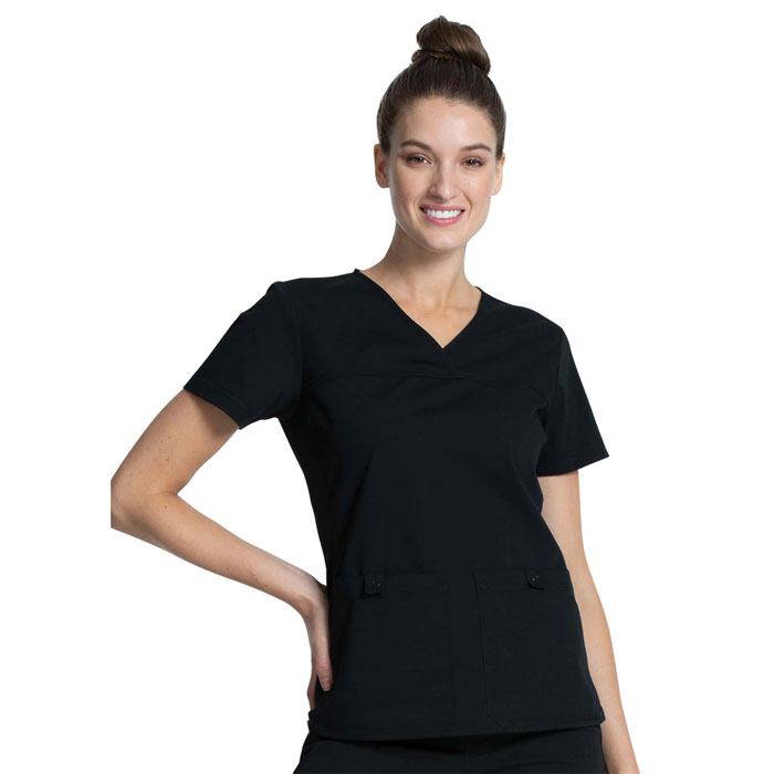 Cherokee Professionals - V-Neck Knit Panel Top - WW2968