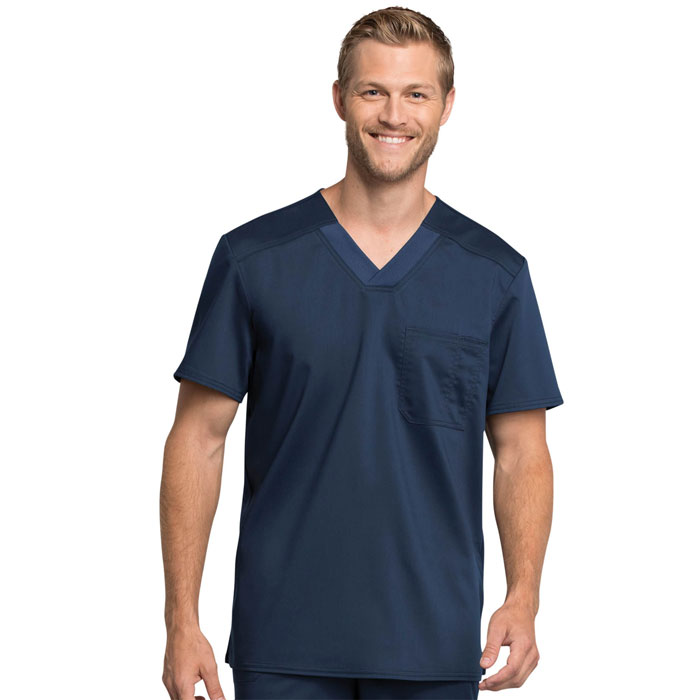 Workwear-Revolution-Tech-WW755AB-Men's-Chest-Pocket-V-Neck-Scrub-Top-With-Certainty
