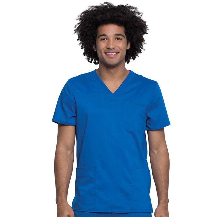 Workwear-Revolution-Tech-WW760AB-Men's-3-Pocket-V-Neck-Scrub-Top-With-Certainty