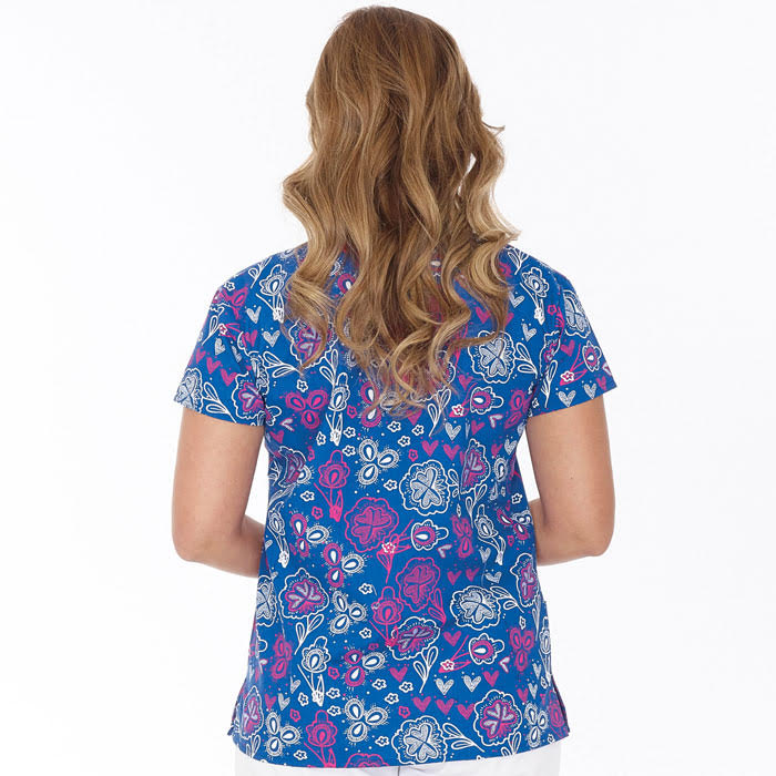 94e5f5826ff 9100-1554, Ladies Mock Wrap Top, Chalk Flowers. Complete the look